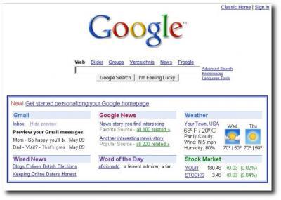 Startseite von Google