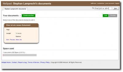 Dokumentübersicht bei Helipad
