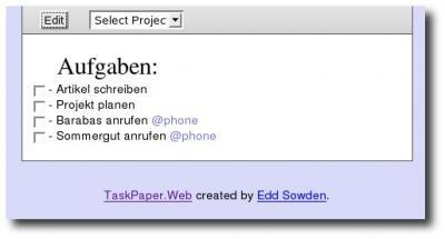 Aufgabenliste in Taskpaper