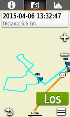 Ein Track in der Navigationsansicht des Garmin Oregon 600